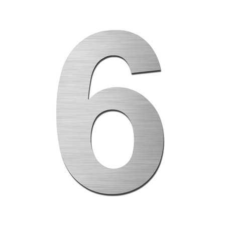 Hausnummer Klein 6 Edelstahl V4A selbstklebend