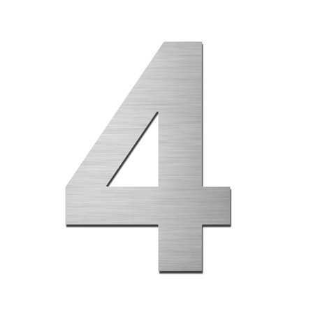 Hausnummer 4 Edelstahl V4A zum Einschlagen