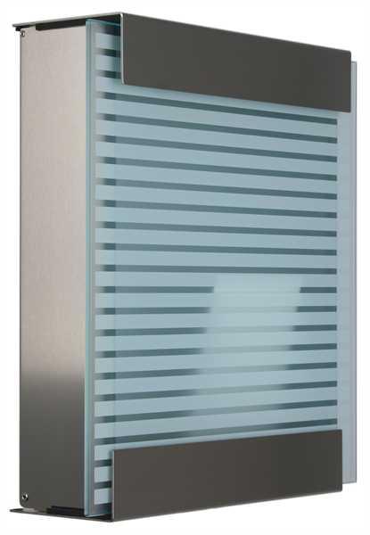 glasnost Briefkasten mit bedruckter Glasfront glass.white-stripes