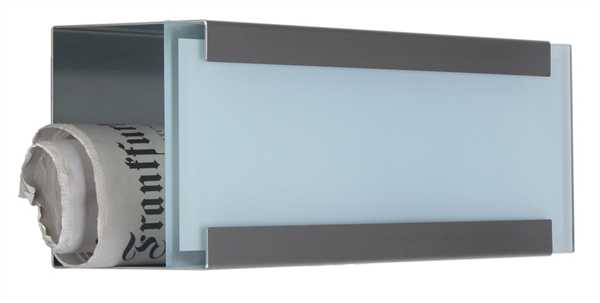 glasnost Zeitungsbox mit bedruckter Glasfront newsbox.glass.white