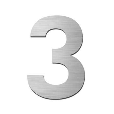 Hausnummer Klein 3 Edelstahl V4A selbstklebend