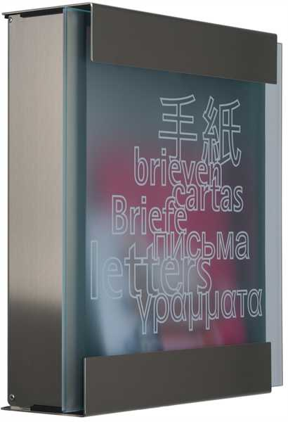 glasnost Briefkasten mit bedruckter Glasfront glass.letters