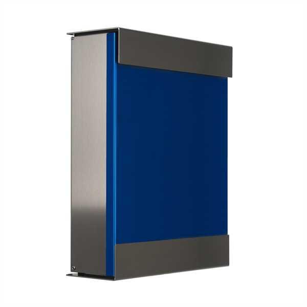 glasnost Briefkasten mit beschichteter Edelstahlfront color.blue