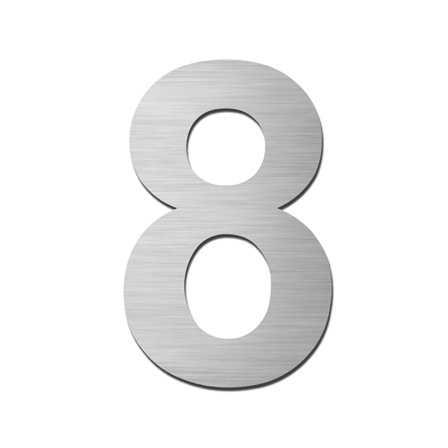 Hausnummer Klein 8 Edelstahl V4A selbstklebend