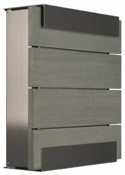 glasnost Zeitungsbox mit Holzfront newsbox.wood.grey