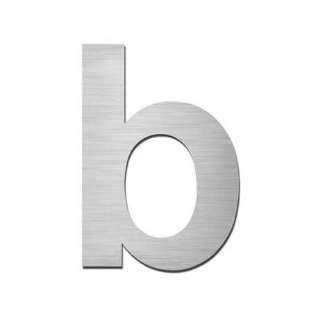 Hausnummer Klein b Edelstahl V4A selbstklebend