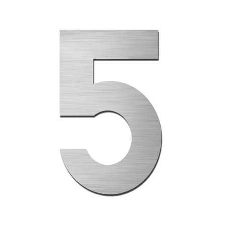 Hausnummer Klein 5 Edelstahl V4A selbstklebend