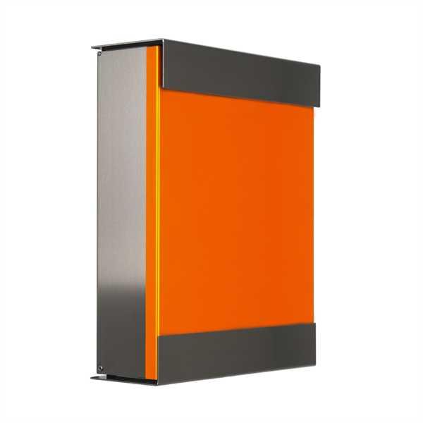 glasnost Briefkasten mit beschichteter Edelstahlfront color.orange