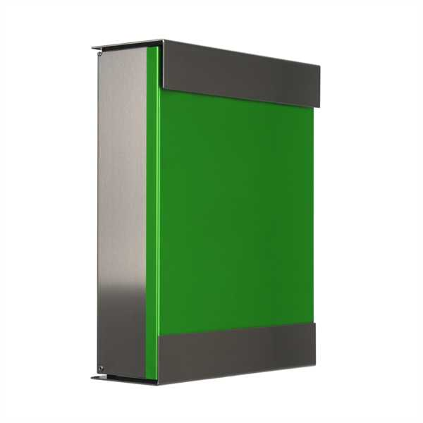glasnost Briefkasten mit beschichteter Edelstahlfront color.green