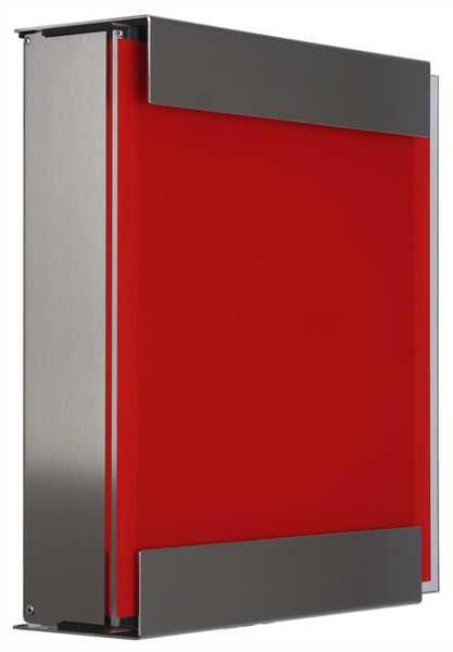 glasnost Briefkasten mit bedruckter Gasfront glass.red