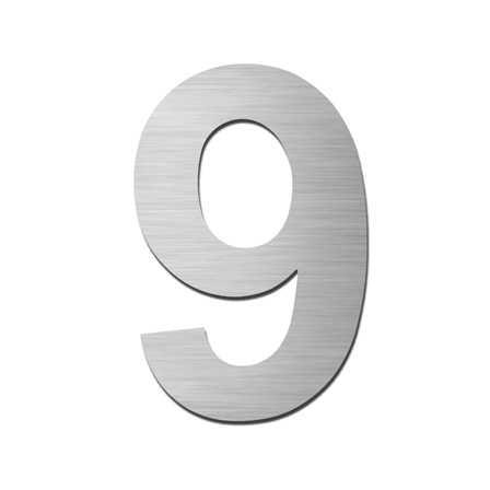 Hausnummer Klein 9 Edelstahl V4A selbstklebend