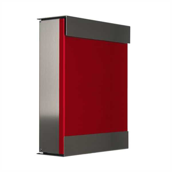 glasnost Briefkasten mit beschichteter Edelstahlfront color.red